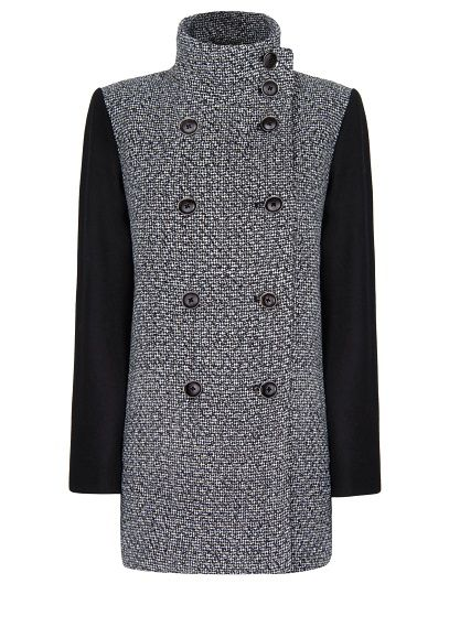 MANGO - Contrast sleeves bouclé coat....coming soon on the Blog
