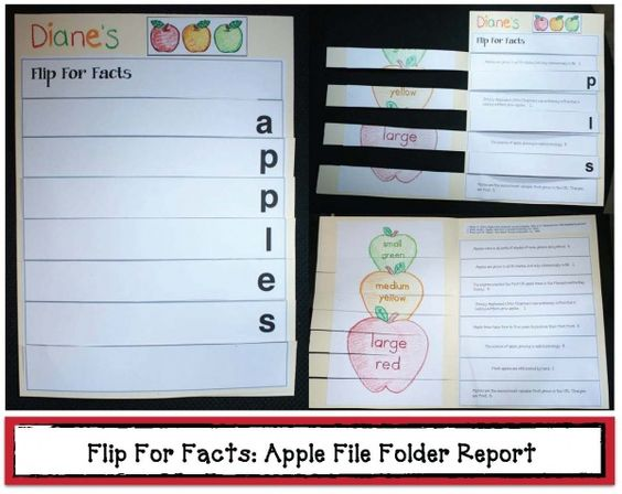 Flip For Apple Facts File Folder