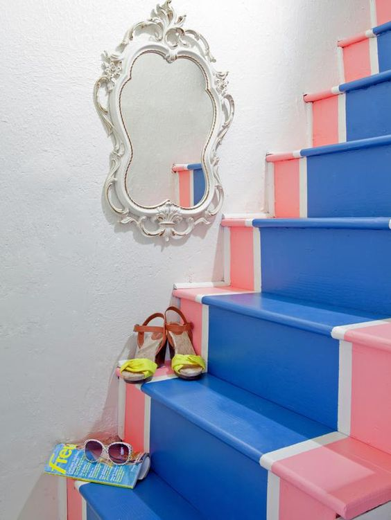 10 Easy Upgrades for Your Staircase (http://blog.hgtv.com/design/2014/03/14/10-easy-upgrades-for-your-staircase/?soc=pinterest): Beach House, Staircase Soc, Stair Case, Painted Staircases, Decor Staircase, Faux Staircase, Hallway Staircase, Staircase Runner, Painting