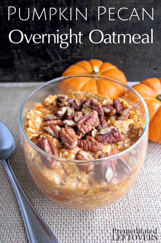 Pumpkin Pecan Overnight Oatmeal- This overnight oatmeal recipe is a yummy way to get heart-healthy oats and pumpkin into your diet. It's also gluten-free!