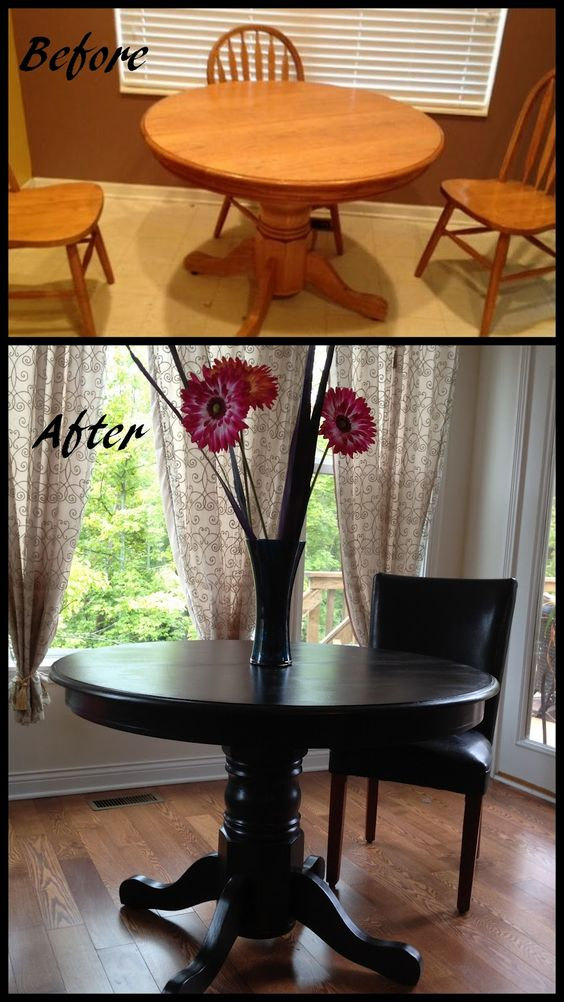 Seems a shame to paint oak, but this black painted oak table is