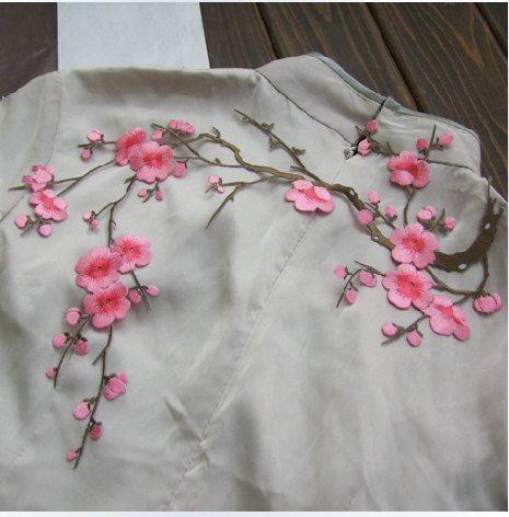 Plum blühen Wintersweet Applique Kragen Baumwolle weiß von lacediy