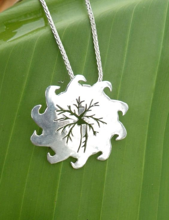 Silver Sun and palmtree pendant by silversunstudiobiz on Etsy, $40.00