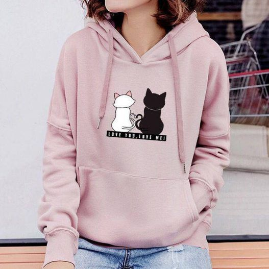 Cat Print long Sleeve Tops Hooded Sweatshirts | Sweatshirts