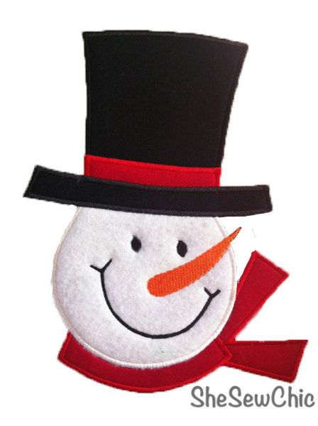 machine embroidery design snowman | Snowman Face Applique Machine Embroidery Design by SheSewChic