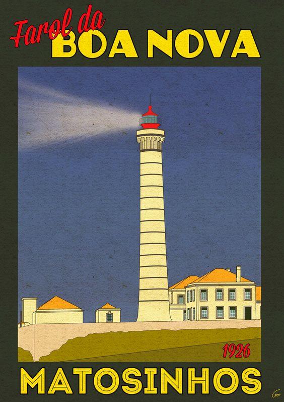 Poster vintage do Farol da Boa Nova - Matosinhos - Portugal