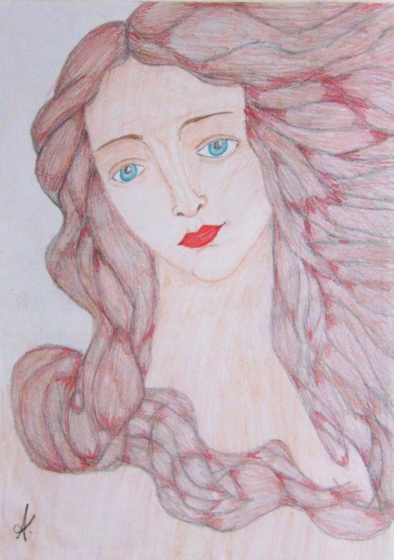 O nascimento de Vênus - Rosto inspirado no quadro de Botticelli. Colorido com lápis de cor.