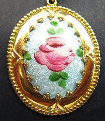 ANTIQUE Czech Necklace Blue Pink Rose Glass by BrightgemsTreasures