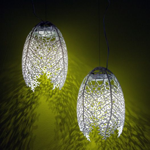Hyphae Pendant Lamps by Nervous System. 3d-printed nylon and LED lights, each…:
