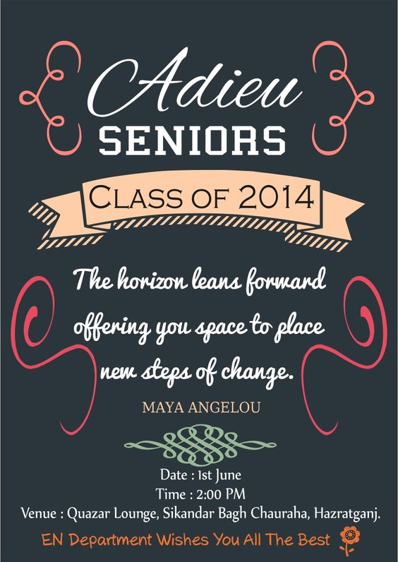 Saying goodbye to our seniors and wishing them best of luck for - farewell invitation template