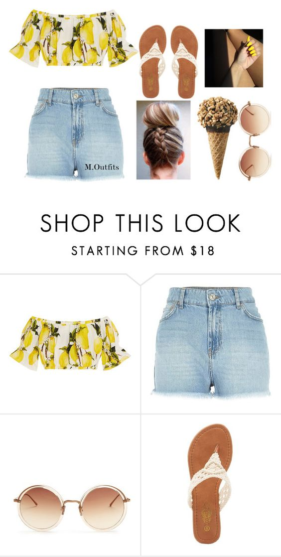 """Broccoli - G.R.A.M ft Lil Yatchy"" by renipooh ❤ liked on Polyvore featuring Dolce&Gabbana, River Island, Linda Farrow and Charles Albert"