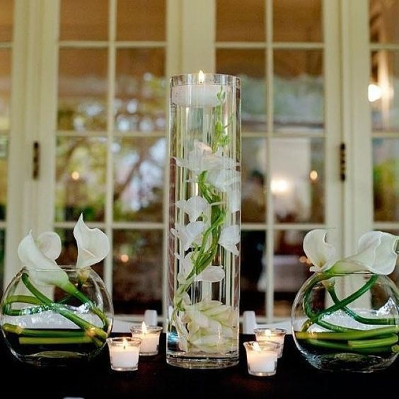 Orchid Centerpieces For Weddings Cost : Wedding silk orchids and cylinder vase on pinterest