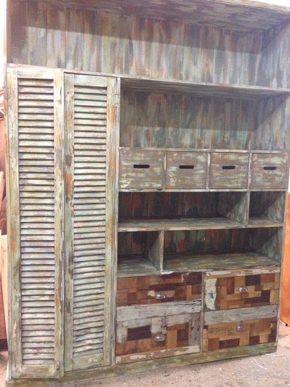 Muebles con alzada muebles rusticos madera reciclada - Muebles de madera rusticos para cocina ...