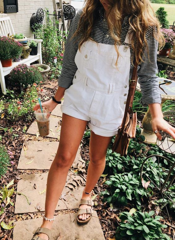 gingham button down + white short overalls + birkenstocks