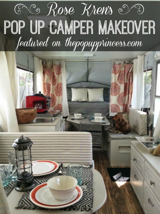 This is a stunning pop up camper makeover.  You won't believe what a little paint and fabric can do!