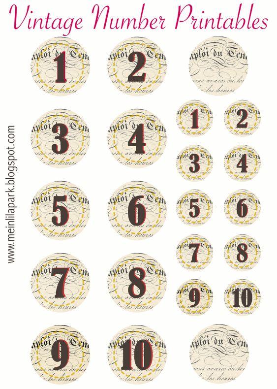 FREE printable vintage number tags and stickers | FREE PRINTABLES ...