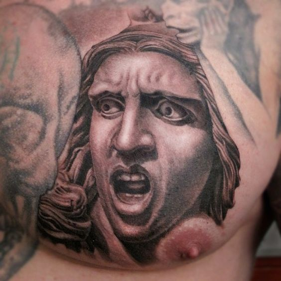 A black and grey tattoo piece by artist Shane O'Neill. | Intenze ink