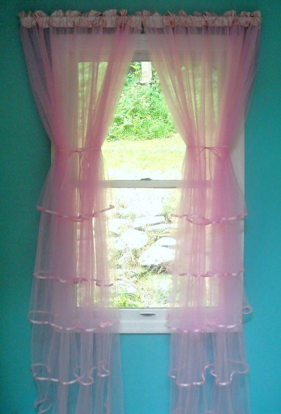 Pink Tulle Ruffled Curtains by PaulaAndErika on Etsy, $55.00