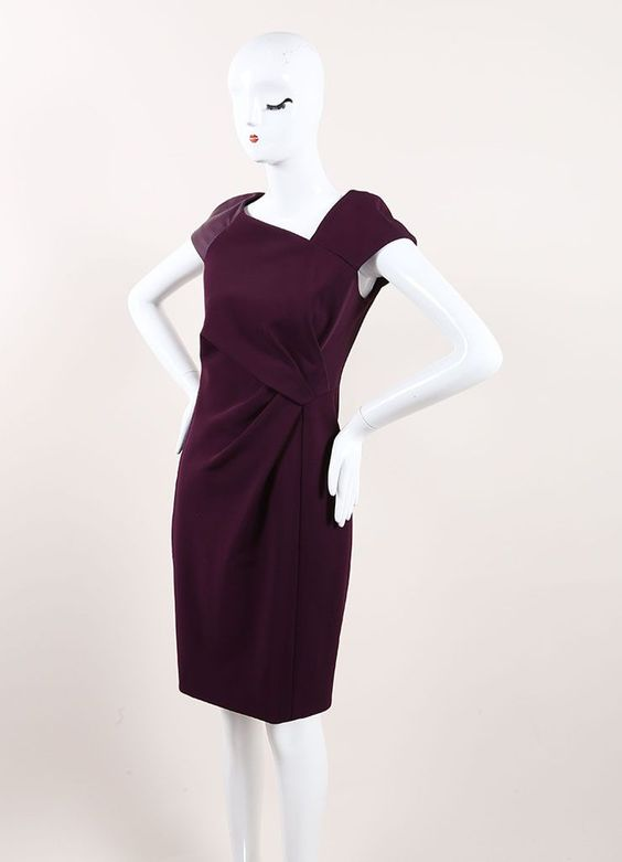 New With Tags Purple Leather Trim Cap Sleeve Gathered Sheath Dress