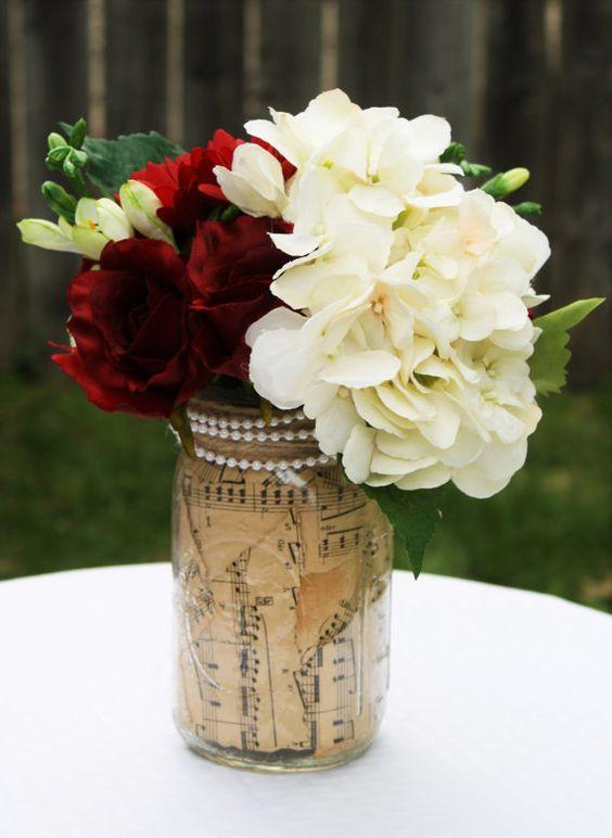 Mason Jar, centre de table rustique, Decor de Table rustique, mariage rustique…
