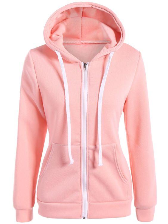 Slim Zip Up Drawstring Hoodie in Pink | Sammydress.com