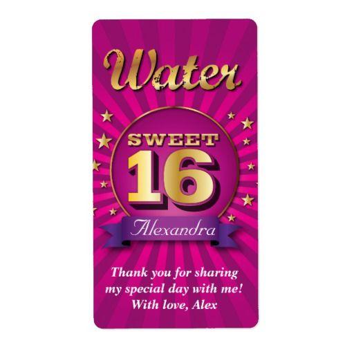 Big Bash Pink Sweet 16 Water Label Zazzle Com Pink Sweet 16 Water Bottle Labels Template Water Bottle Labels