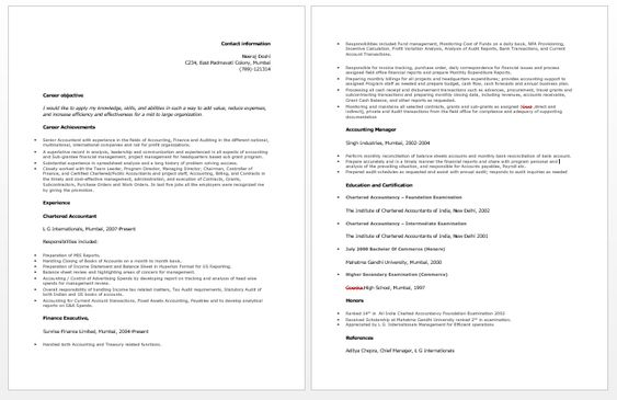 Chartered Accountant Resume Accounting Resume Samples - chartered accountant sample resume
