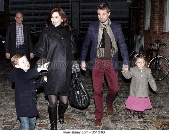 10 December 2010--Danish Crown Prince Frederik, Crown Princess Mary and their children Prince Christian and Princess Isabella arrive for a ballet performance at the Tivoli in Copenhagen, Denmark, 10 December 2010. Photo: Albert Nieboer  NETHERLANDS OUT - Stock Image