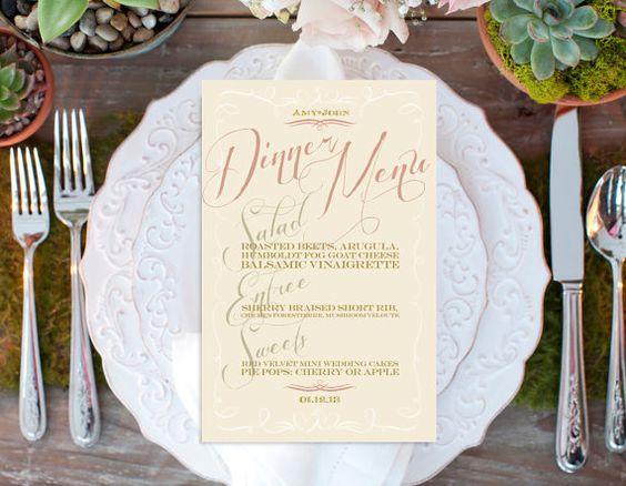Printable Menu, Wedding, Bridal Shower Menu, Calligraphy Menu