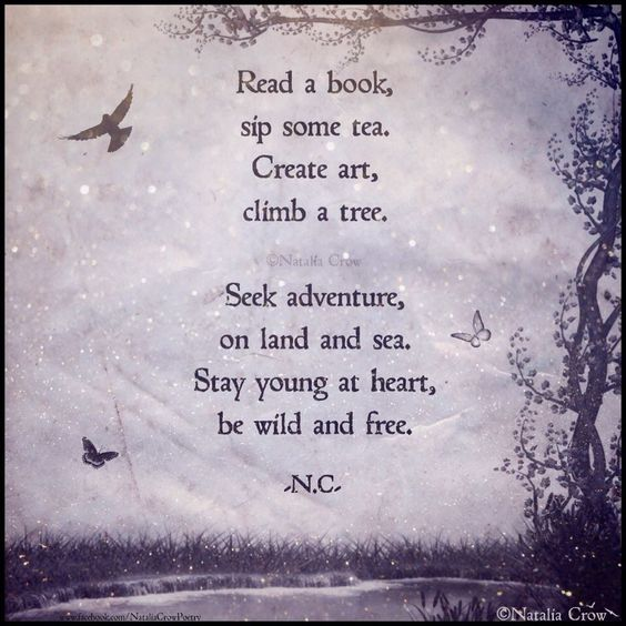 """""""Read a book, sip some tea, create art, climb a tree. Seek adventure, on land and sea. Stay young at heart, be wild and free.""""-Natalia Crow."""