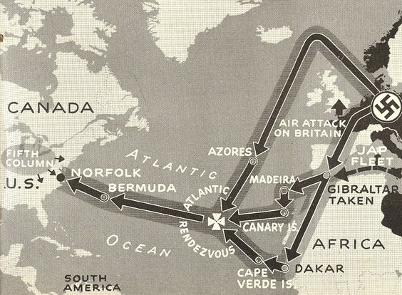 Axis Invasion – Plan Five is hard way to cross the Atlantic. Combined Axis navies reduce Atlantic islands, then take big water jumps from Azores to Bermuda to Norfolk. Their biggest headache is reported U.S. superiority in carriers. Twenty-five Nazi ships could transport four divisions.