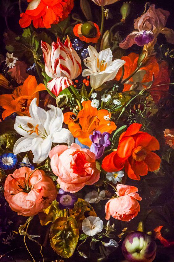 Rachel Ruysch - Flowers in a Glass Vase: