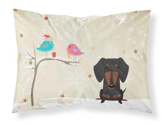 Christmas Presents between Friends Dachshund Black Tan Fabric Standard Pillowcase BB2604PILLOWCASE