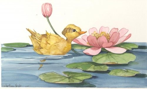 Among the Lilly Pads 11x7 watercolor | CShoresInc - Painting on ArtFire