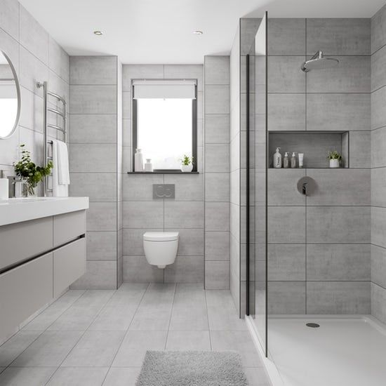 Shala Light Grey Stone Effect Flat Matt Wall And Floor Tile 300mm X 600mm Bathroom Trends Bathroom Interior Design Bathroom Interior