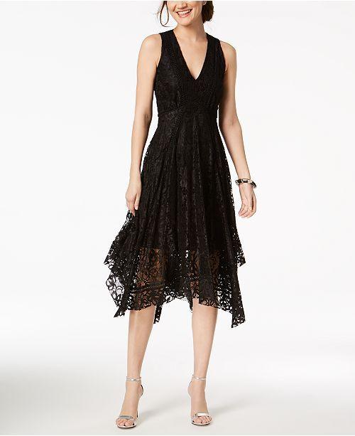 Taylor Printed Lace Handkerchief Hem Dress Black