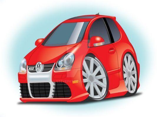 My Vw R32 Cartoon By Stevep67 On Volkswagenr32 Volkswagen Classic Cars Volkswagen Up