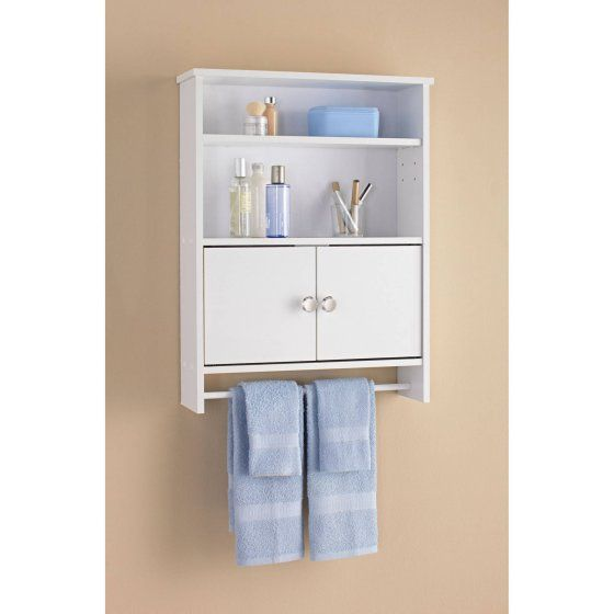 Mainstays 2 Door Wood Wall Cabinet White 27 44 Features 2 Open Shelves A Hid Bathroom Wall Storage Cabinets Bathroom Wall Cabinets Wall Storage Cabinets
