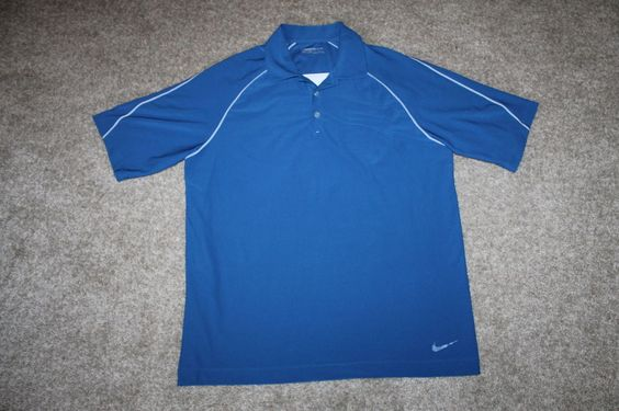 Nike Fit Dry Mens Blue White S/ S Golf Polo Shirt Size Large #Nike #PoloShirt