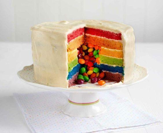Regenbogenkuchen Mit Smarties Fullen Regenbogenkuchen Rezept Regenbogen Kuchen Kuchen Und Torten