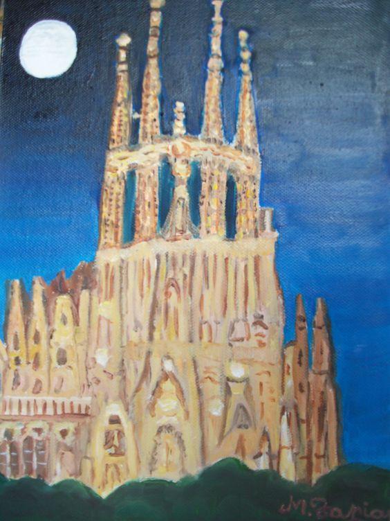 Autor :Manoli Tapias  Titulo:  Sagrada Familia de noche €de  Gaudi         Técnica: óleo lienzo a pincel y arena Medidas: 21 x 30  Soporte: Lienzo sobre bastidor madera  http://arttapias.blogspot.com.es/