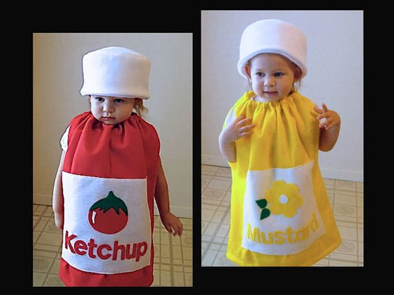 Kids Twin Set Halloween Costume Ketchup and Mustard Girl