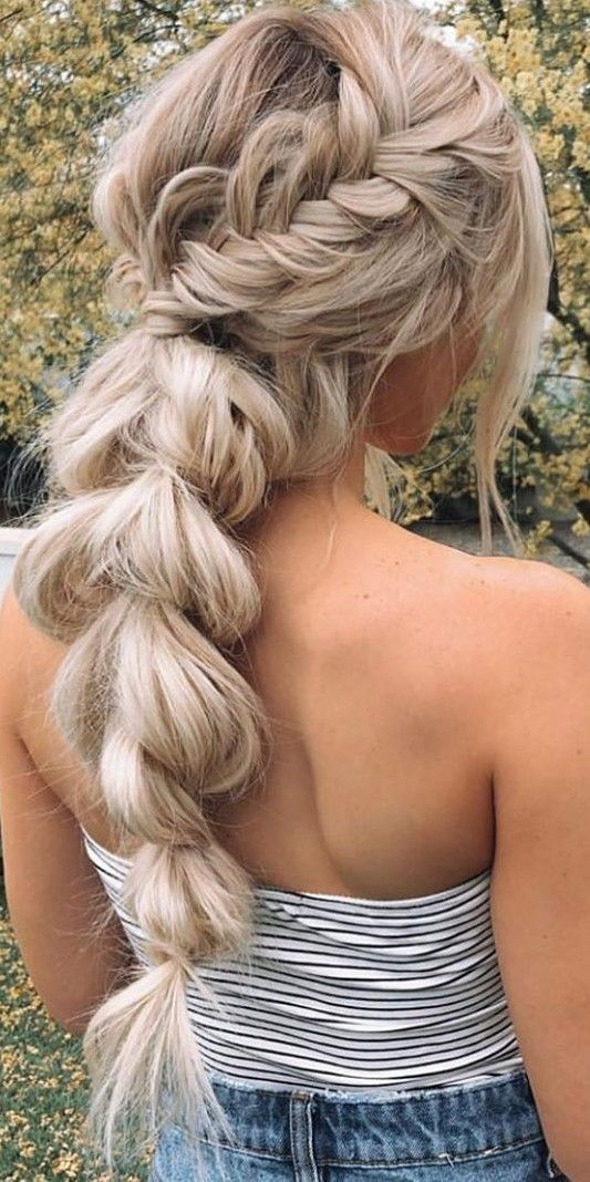 Pin By We Re Two Pinners On Boho Hairstyles Braided Ponytail Hairstyles Hair Styles Wedding Ponytail Hairstyles