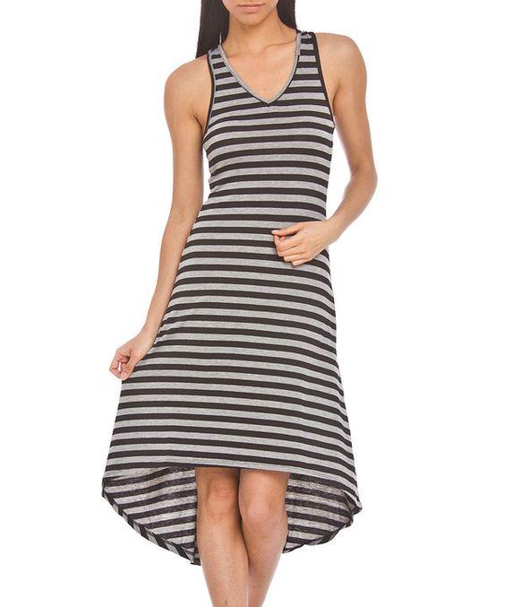 Look what I found on #zulily! Prestige Edge Black & Gray Stripe Hi-Low Dress - Women by Prestige Edge #zulilyfinds