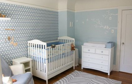 Blue Tree Wallpaper Murals and Wite Bedding Sets in Baby Bedroom Themes Decorating Designs Ideas