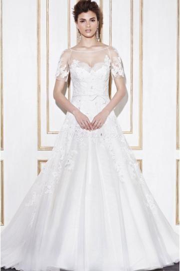 Elegant V-hals Tule Applique Bruidsjurken