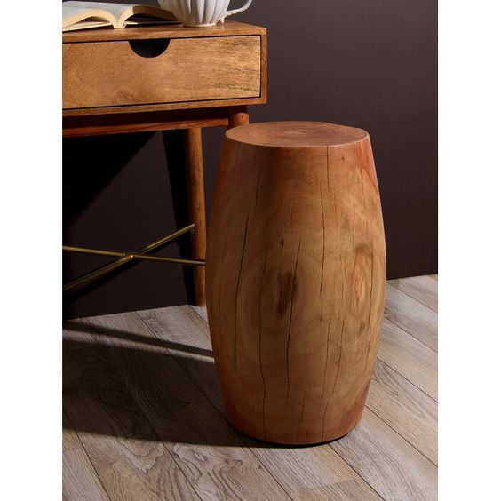 Maymie Wood Drum Accent Stool In 2020 Accent Stool Stool Iron Stools