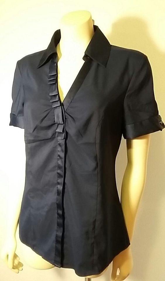 NWT Express Women's Short Sleeve Button Down Career Top Shirt Medium Dark Blue…