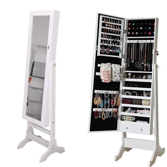Large Jewellery Cabinet Storage Floor Standing Organiser Armoire White  Mirrorr | EBay