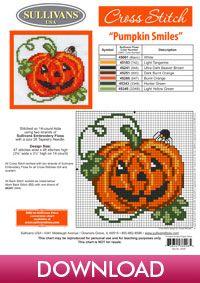 Autumn Collection Pumpkin Smiles; free cross stitch from Sullivans